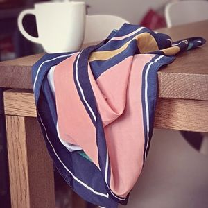 H&M - Square Neck Scarf - Navy Blue/Pink/White